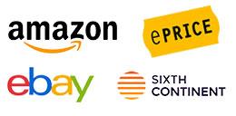 Logo Amazon, logo Ebay, logo Eprice, logo Sixth Continent
