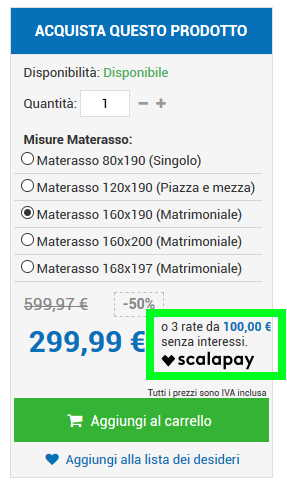 Box Pagamento a rate Scalapay